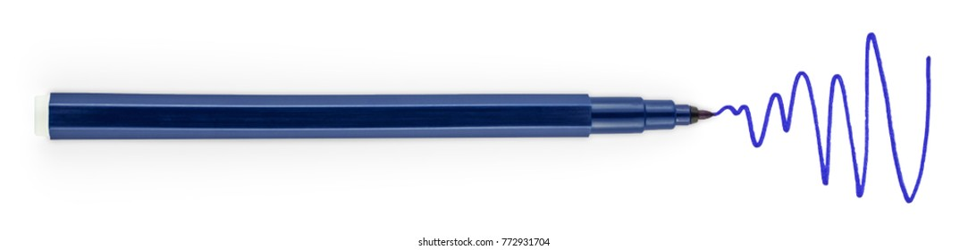 Marker Isolated on White Background. Dark Blue Felt Pen. Painted Color Lines. Clipping Path.