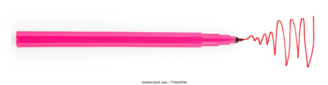 Marker Isolated on White Background. Light Pink Felt Pen. Painted Color Lines. Clipping Path.