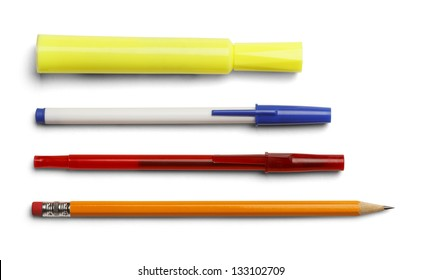 Marker pens and pencil isolated on white background.