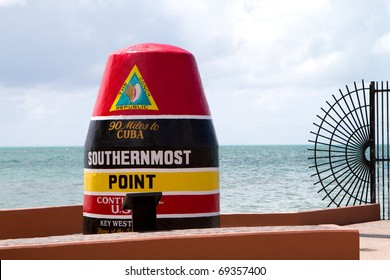 Marker at the southernmost point in the continental USA in Key West, Florida is 90 miles from Cuba.