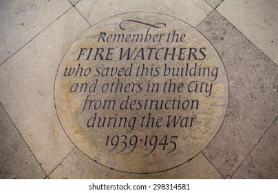 A marker stone in Canterbury Cathedral commemorating the efforts of the Firewatchers during the Second World War who saved the Cathedral from destruction during the Blitz.