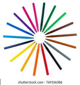Markers Isolated on White Background. Circle of Felt-Tip Pens. Felt Pen. Clipping Path.