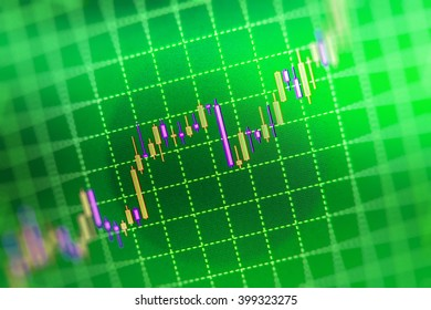 Market analysis for variation report of share price. Professional market analysis. Shallow DOF. World economics graph. Analysing stock market data on a monitor. Finance concept. Price chart bars.