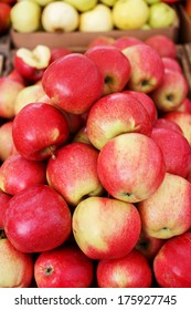 Market apples in a pile