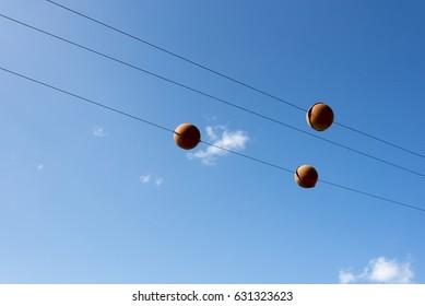 Market balls at power lines