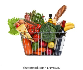 Market basket / studio photography of steel wire supermarket shopping carts basket with foodstuff - isolated on white background