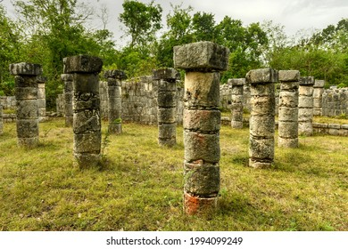 The Market at Chichen Itza, a large, colonnaded building with a spacious interior court, built in the Maya-Toltec style 900-1200 AD. - Shutterstock ID 1994099249