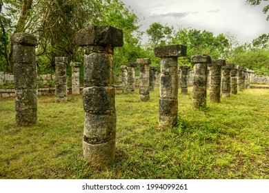 The Market at Chichen Itza, a large, colonnaded building with a spacious interior court, built in the Maya-Toltec style 900-1200 AD. - Shutterstock ID 1994099261
