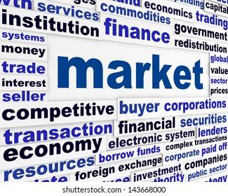 Market creative words concept. Business message conceptual background