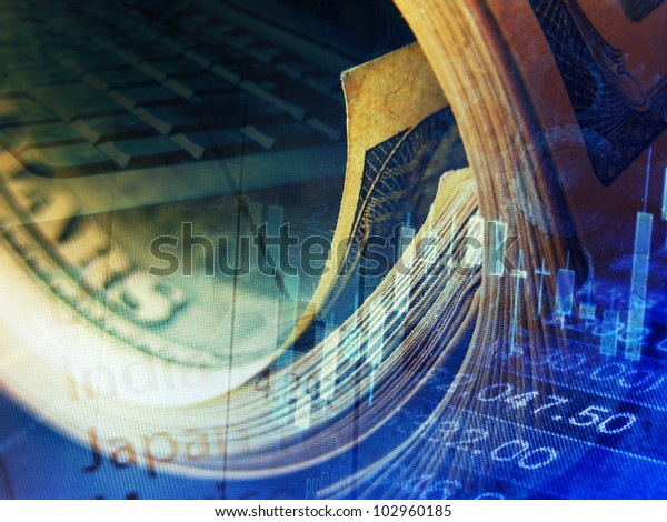 Market data and rolled dollars. Finance concept.