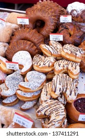 Market. Fresh donuts and buns.