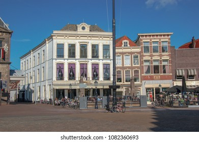 The Market in Gouda, the Netherlands, with monumental buildings.