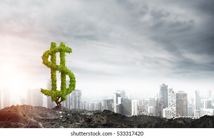 Market growth and success as growing green tree in shape of dollar