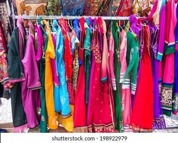 Market Indian costumes, El Rastro, madrid, Spain