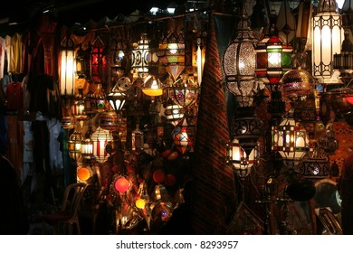 Market of lamps in medina of Marrakech, Morocco, Northern Africa