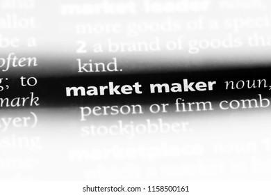 market maker word in a dictionary. market maker concept.