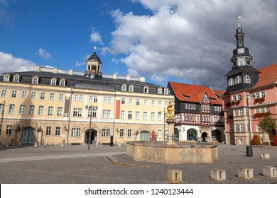 Market place and historic townhall in Eisenach, Germany