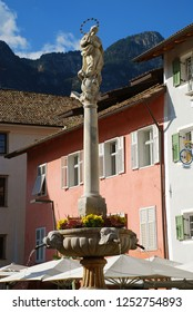 Market place in Kaltern at the South Tyrolean wine route, South Tyrol, Italy. Kaltern an der Weinstrae  (Italian: Caldaro sulla Strada del Vino), is often abbreviated to Kaltern or Caldaro