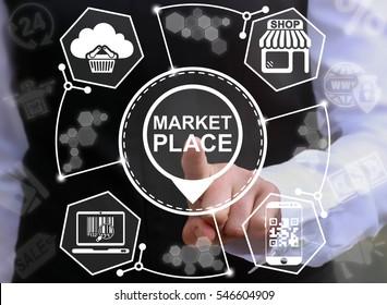 Market place store navigation shopping web computer online business concept. Marketplace shop location icon buy cloud internet market supermarket marketing smart phone laptop bar qr code technology
