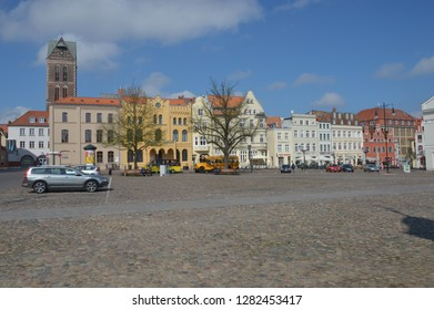 market place in Wismar, mecklenburg pomerania, germany, april-30-2017