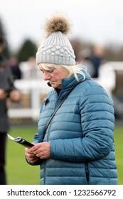 MARKET RASEN RACECOURSE, LINCOLNSHIRE, UK : 8 November 2018 : Racehorse Trainer Pam Sly at Market Rasen Races