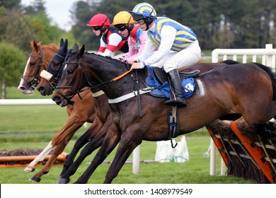 MARKET RASEN RACECOURSE, LINCOLNSHIRE, UK : 10 MAY 2019 : Three racehorses jump the last fence together on the way to a tight finish at Market Rasen Races