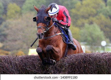 MARKET RASEN RACECOURSE, LINCOLNSHIRE, UK : 10 MAY 2019 : Racehorse Van Gogh Du Granit ridden by David Noonan jump the last fence before winning the 3m Handicap Chase at Market Rasen Races