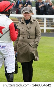 MARKET RASEN RACECOURSE, LINCOLNSHIRE, UK : 7 JUNE 2019 : Racehorse Trainer Emma Lavelle in the Parade Ring at Market Rasen Races