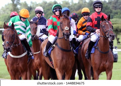 MARKET RASEN RACECOURSE, LINCOLNSHIRE, UK : 21 JUNE 2019 : Racehorses circling at the start before racing at Market Rasen Races