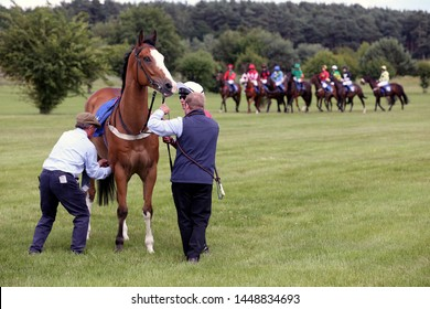 MARKET RASEN RACECOURSE, LINCOLNSHIRE, UK : 21 JUNE 2019 : The Starter and his Assistant adjust the girths on a racehorse before racing at Market Rasen Races