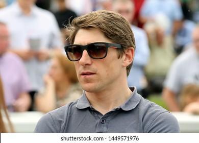 MARKET RASEN RACECOURSE, LINCOLNSHIRE, UK : 7 JULY 2019 : Jockey Harry Skelton in the Parade Ring at Market Rasen Races
