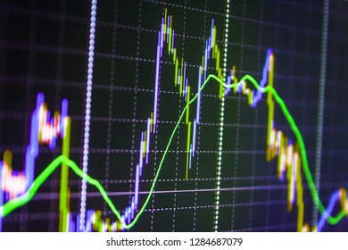Market report on blue background,  Display of quotes pricing graph visualization,   Blue screen of finance data,  Big data on LED panel,  Stock market chart on LCD screen,  Market trading screen