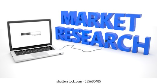 Market Research - laptop notebook computer connected to a word on white background. 3d render illustration.