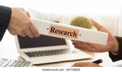 Market Research Team send survey data on consumer behavior to manager. Concept of strategy marketing, analytics and statistics.