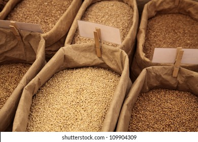 Market scenery with rye and wheat