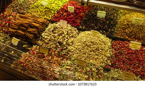 Market selling different types of tea herbs and spices.