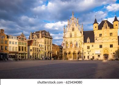 Market square in the city of Mechelen
