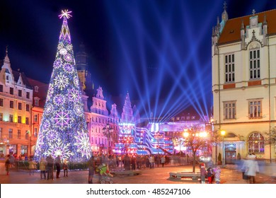 Market Square in colorful illuminations and decorations for Christmas. Wroclaw. Poland.