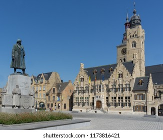 Market square in Diksmuide with town hall and statue of General Jacques de Dixmude. Diksmuide is town in Westhoek in West Flanders Vlaanderen in Belgium.
