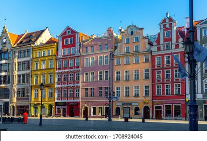 Market square in the early morning in the city of Wroclaw. Poland