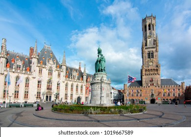 Market square (Grote markt) and Belfort tower in Bruges, Belgium