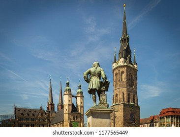 Market square of hall Saale Saxonia germany