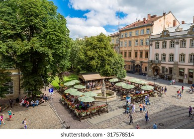 Market square - historical and tourist centre of  Lvov, Ukraine. Historical centre of Lviv