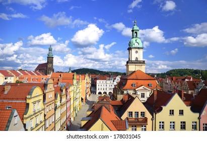 Market square in old town of Jelenia Gora, Poland