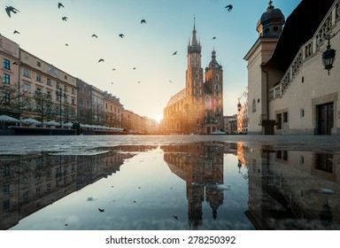 Market square and St. Mary's Basilica in Krakow, Poland.