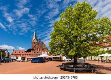 Market Square and St. Mary's Church (St. Marien Kirche) in Barth, Germany  - Shutterstock ID 2024343785