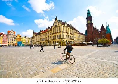 Market square tenements and City Hall in Wroclaw, Poland