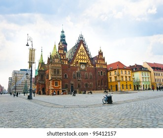 Market square and Town Hall in Wroclaw city, Poland