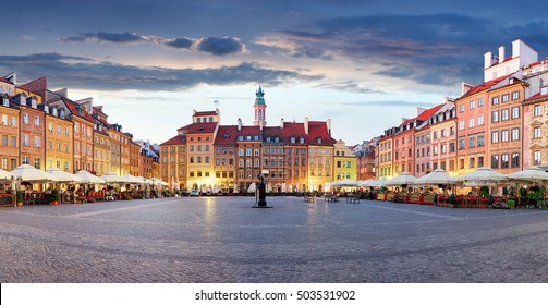 Market square in Warsaw, Poland