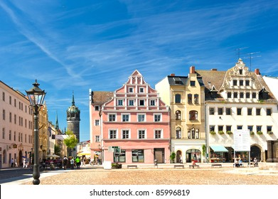 Market square in Wittenberg, main square. Wittenberg is Luther City in Germany, UNESCO World Heritage Site. Wittenberg is very old german City, famous object of interest in Germany